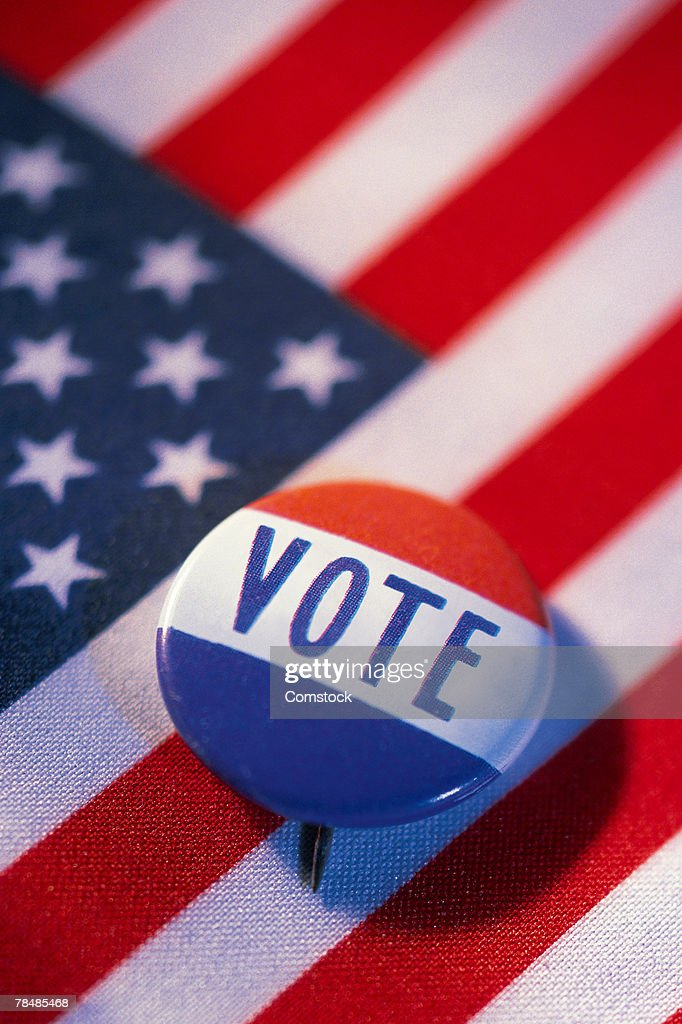 Vote button on american flag