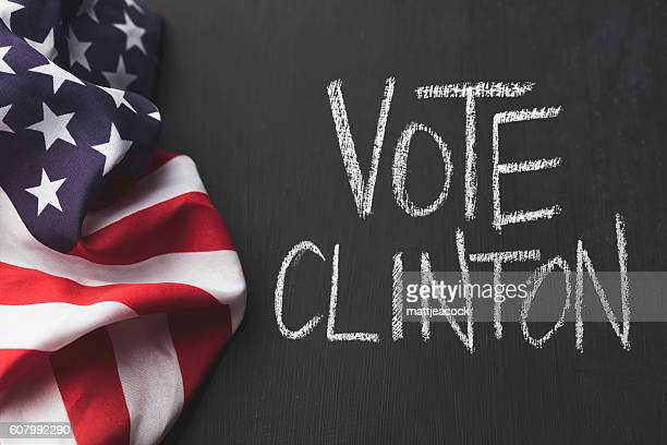 Vote Clinton chalkboard and USA flag