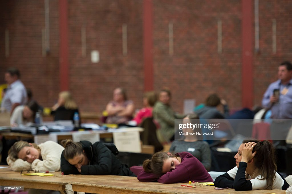 Vote counters rest during the National Assembly for Wales election count at the Sport Wales National Centre on May 06, 2016 in Cardiff, Wales. Yesterday the UK went to the polls to vote for assembly members, councillors, mayors and police commissioners.