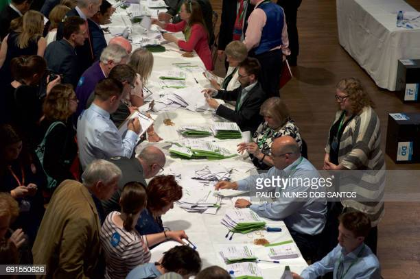 Vote counting begins for the Fine Gael Leadership election 2017 at the National Count Centre Maison House in central Dublin on June 2 with ministers...