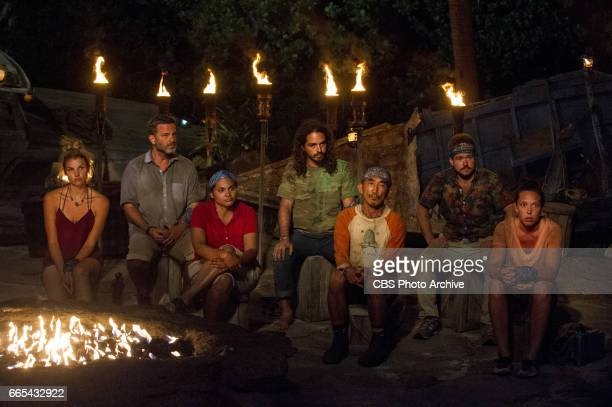 'Vote Early Vote Often' Andrea Boehlke Jeff Varner Sandra DiazTwine Oscar 'Ozzy' Lusth Tai Trang Zeke Smith and Sarah Lacina at Tribal Council on the...