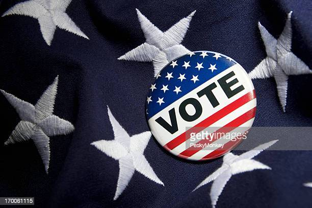 Vote Election Pin Stars and Stripes on American Flag