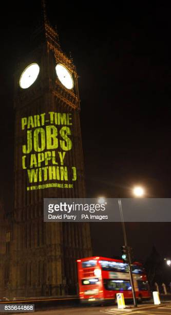 Vote for a Change campaigners project a message on to St Stephen's Tower in London to highlight what they perceive as the unfairness of the current...