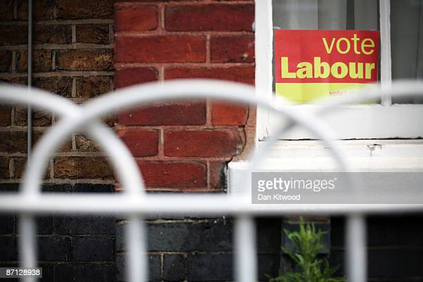 A vote Labour poster is displayed in the window of a house in an area of South London within a few miles of Parliament more affluent pockets of the...