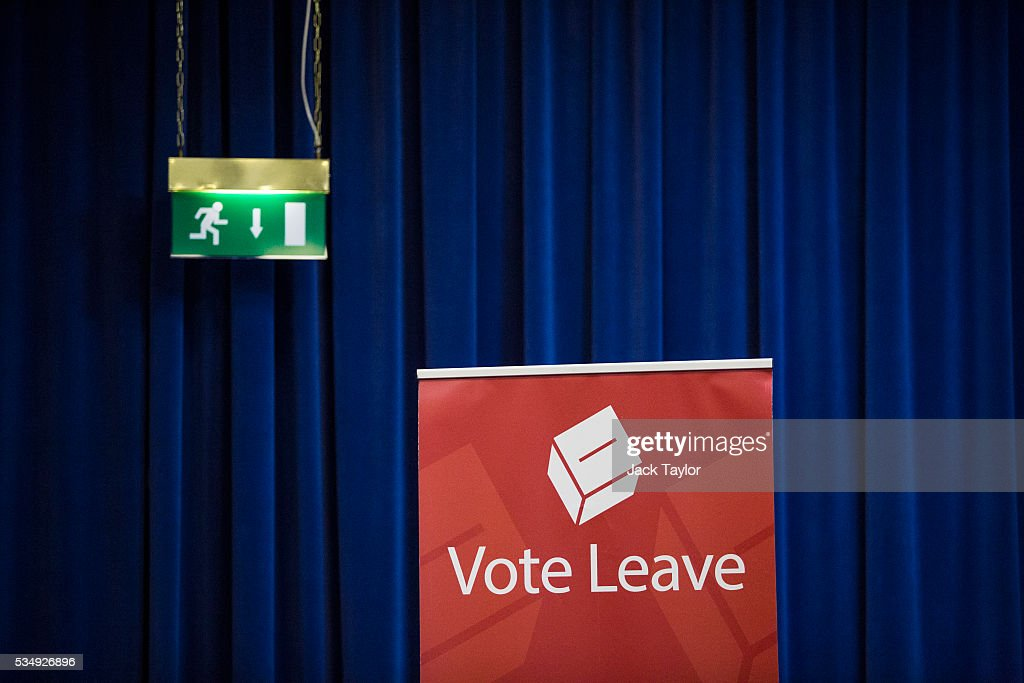 A Vote Leave banner is pictured at Kent County Council on May 28, 2016 in Maidstone, England. Prominent members of the Conservative Party are campaigning on behalf of Vote Leave in Kent today, ahead of the EU referendum on June 23rd.