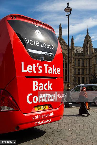 A 'Vote LEAVE' battle bus is parked outside the Houses of Parliament in Westminster by the environmental campaign group Greenpeace before being...