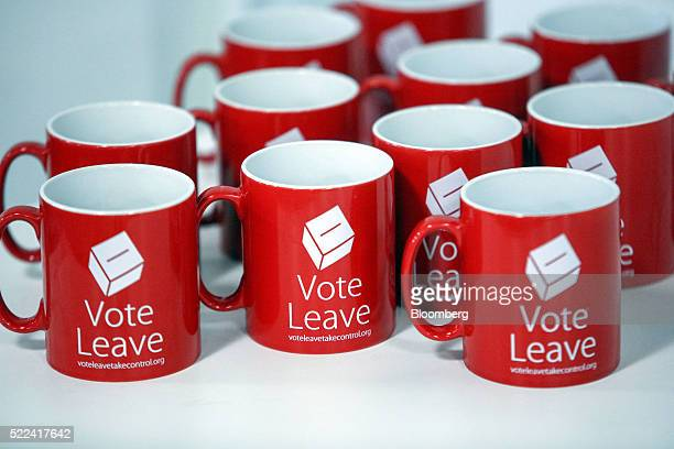 Vote Leave branded mugs sit on a table during a speech at the campaign offices in London UK on Tuesday April 19 2016 UK Justice Secretary Michael...