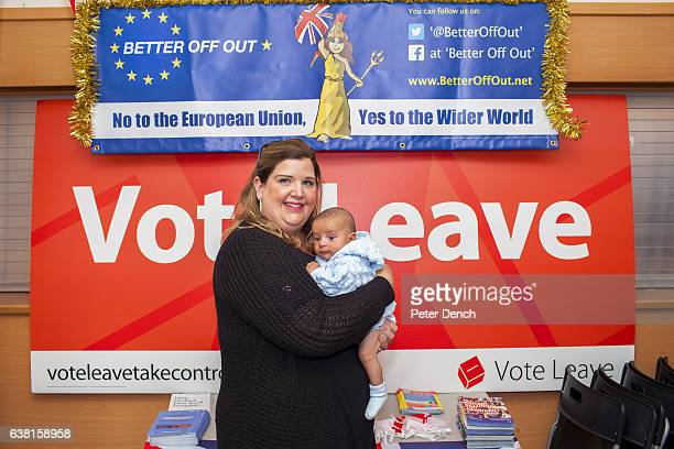 Vote LEave campaigner Samantha Crane with baby Malik who is part Egyptian at Margaret Thatcher House in Romford constituency address of Andrew...