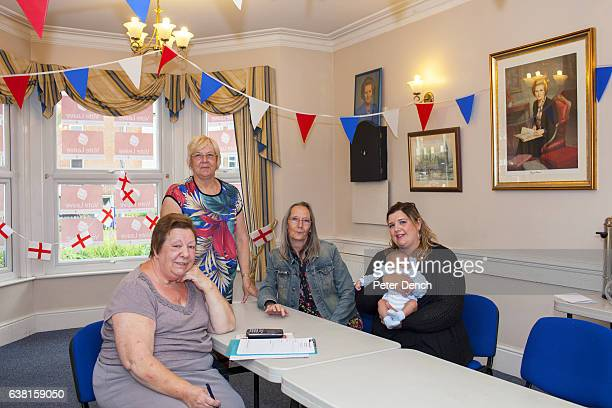 Vote Leave campaigners Sue Connelly Perl Crane Maureen Milbank and Samantha Crane with part Egyptian baby Malik at Margaret Thatcher House in Romford...