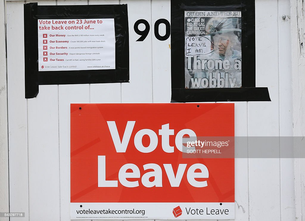 'Vote Leave' posters are displayed on the gate of a house in Redcar, north east England on June 27, 2016 Britain's historic decision to leave the 28-nation bloc has sent shockwaves through the political and economic fabric of the nation. It has also fuelled fears of a break-up of the United Kingdom with Scotland eyeing a new independence poll, and created turmoil in the opposition Labour party where leader Jeremy Corbyn is battling an all-out revolt. / AFP / Scott Heppell