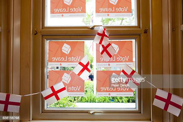 Vote Leave posters in the window at Margaret Thatcher House in the town of Romford constituency address of Andrew Rosindell MP who would like the UK...