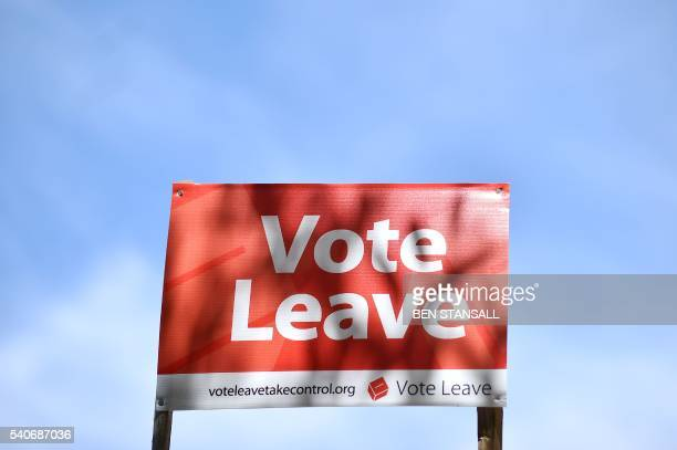 A 'Vote Leave' sign is seen by the roadside near Charing urging people to vote for Brexit in the upcoming EU referendum is seen on the roadside near...