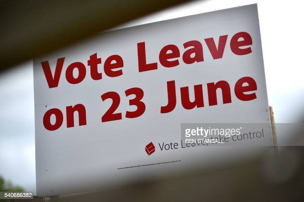 A 'Vote Leave' sign is seen by the roadside near Tunbridge Wells urging to vote for Brexit in the upcoming EU referendum is seen on the roadside near...