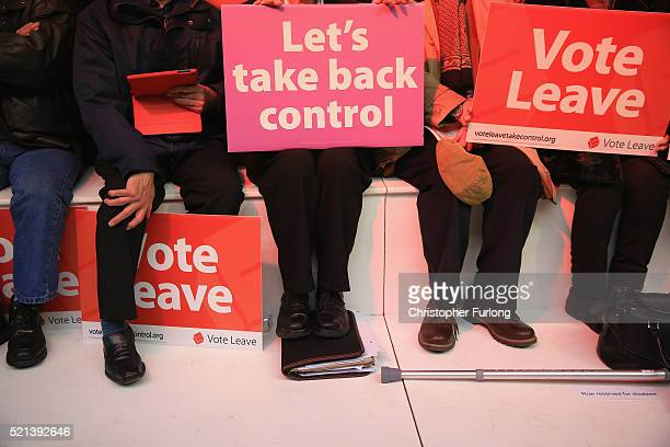 Vote Leave supporters wait for London Mayor Boris Johnson to address campaigners during a rally for the 'Vote Leave' campaign on April 15 2016 in...