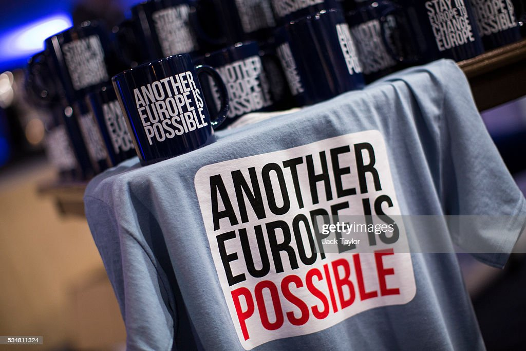 Vote remain paraphernalia on sale at a Diem25 event at The UCL, Institute of Education on May 28, 2016 in London, England. Left-wing politicians and thinkers were today campaigning at the DiEM25 event to stay in the European Union ahead of the EU referendum on the 23rd of June.