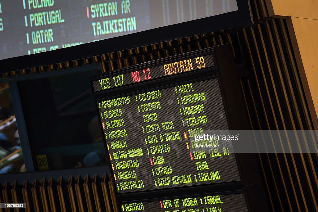 A vote tally is displayed following a UN General Assembly vote in favor of a resolution calling for political transition in Syria on May 15, 2013 in New York City. The 193-member UN General Assembly approved an Arab-backed resolution condemning the regime of Syrian President Bashar Assad for human rights abuses and its escalating use of heavy weapons in the country's civil war.