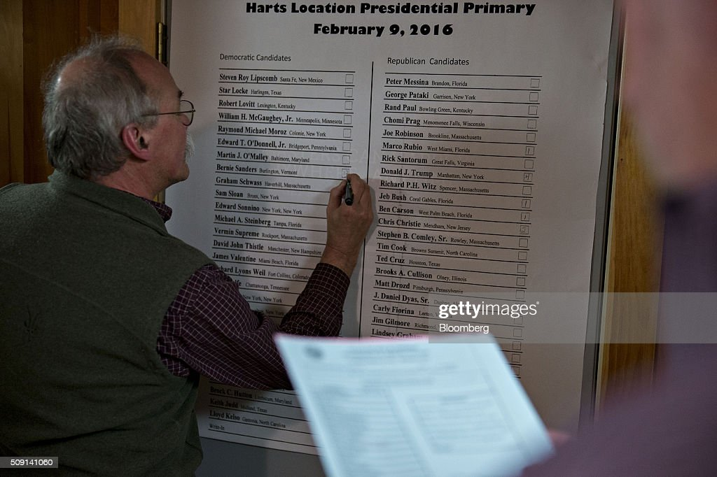 Vote totals for presidential candidates are written on a board at the town hall polling site during the New Hampshire presidential primary election in Harts Location, New Hampshire, U.S., on Tuesday, Feb. 9, 2016. According to the New Hampshire Secretary of State's office, the state has 383,834 voters who haven't declared a party affiliation, compared to 260,896 registered Republicans and 229,202 Democrats. Photographer: Andrew Harrer/Bloomberg via Getty Images