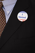 I voted badge on man's suit