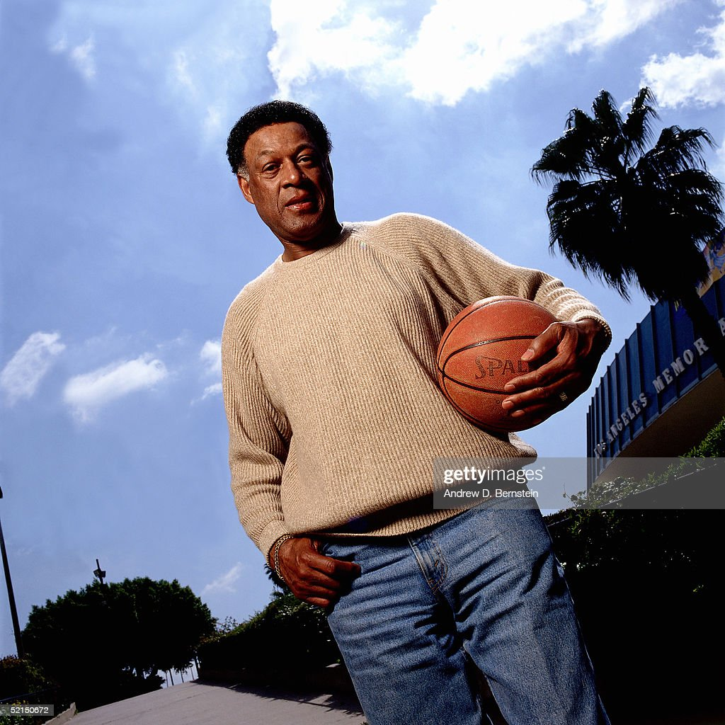 Voted one of the fifty greatest NBA players of all time Elgin Baylor poses for a portrait outside the LA Memorial Sports Arena in 1996 in Los Angeles...