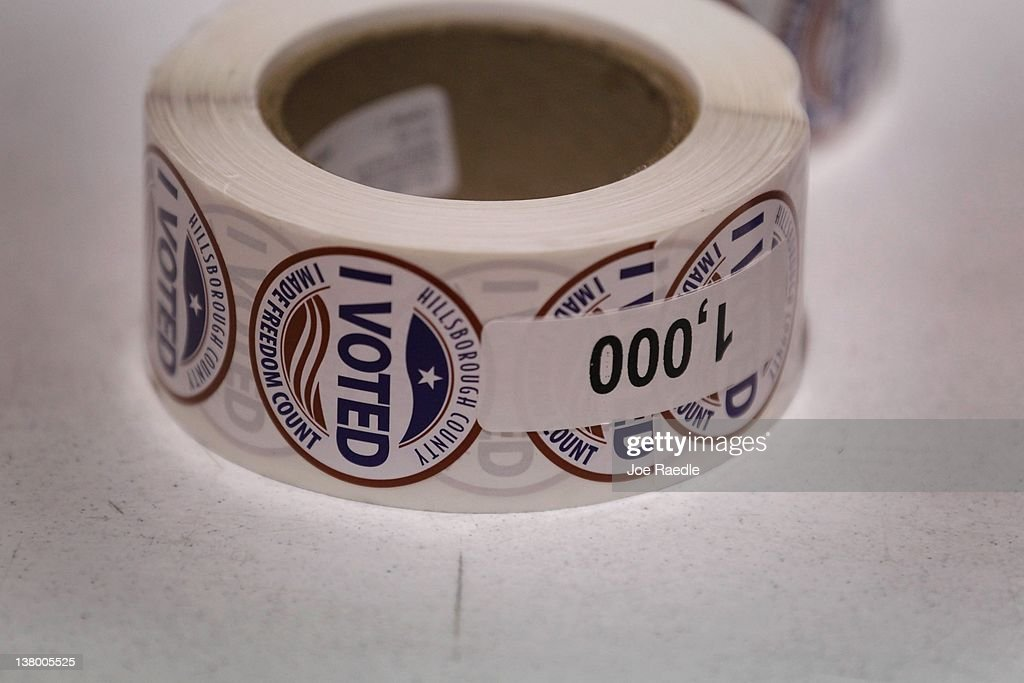 Voted' stickers are left ready for voters at a polling station on primary day on January 31, 2012 in Tampa, Florida. Republican voters head to the polls as their party continues the process of deciding who will be their general election candidate against President Barack Obama.