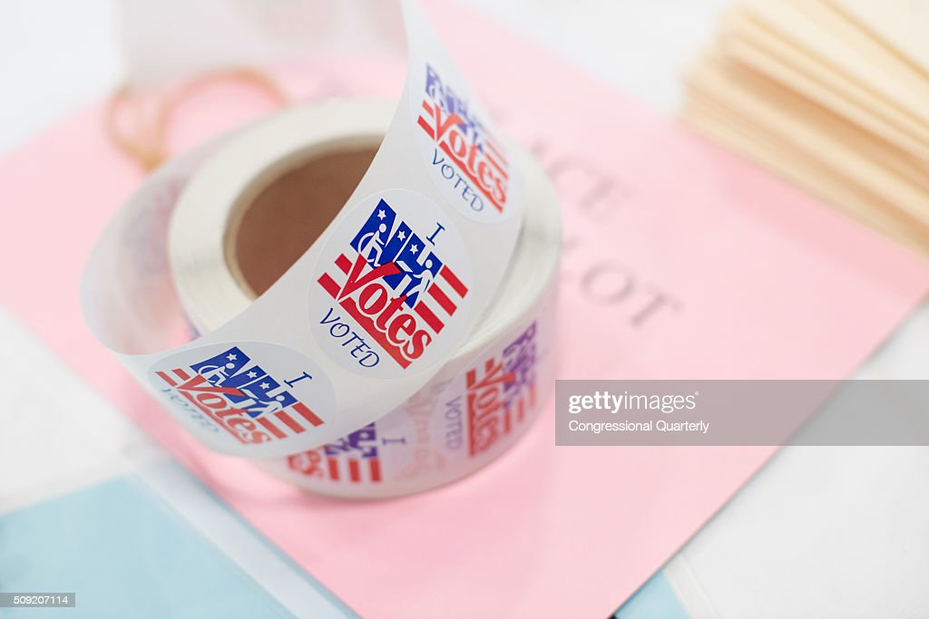'I Voted' stickers are seen at the Londonderry High School where residents vote in the 2016 primaries in Londonderry, New Hampshire on February 9, 2016.
