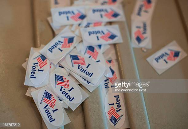 'I voted' stickers pilled up at the Charles Allis Art Museum polling place on election Day in the battleground state of Wisconsin Record voter turn...