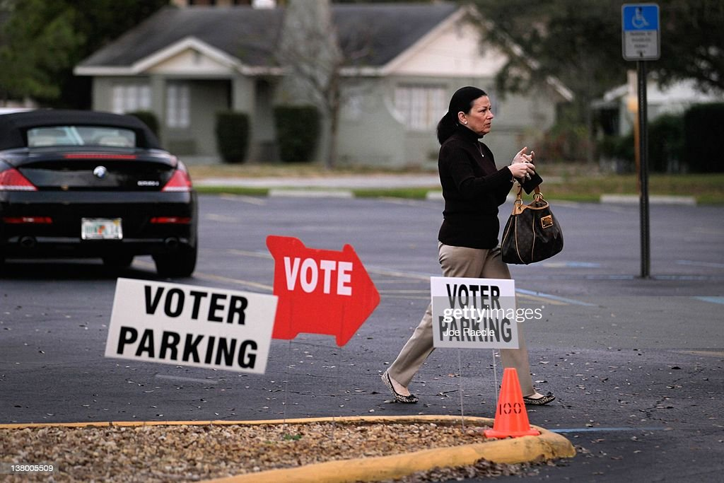 A voter arrives at a polling station on primary day on January 31, 2012 in Tampa, Florida. Republican voters head to the polls as their party continues the process of deciding who will be their general election candidate against President Barack Obama.