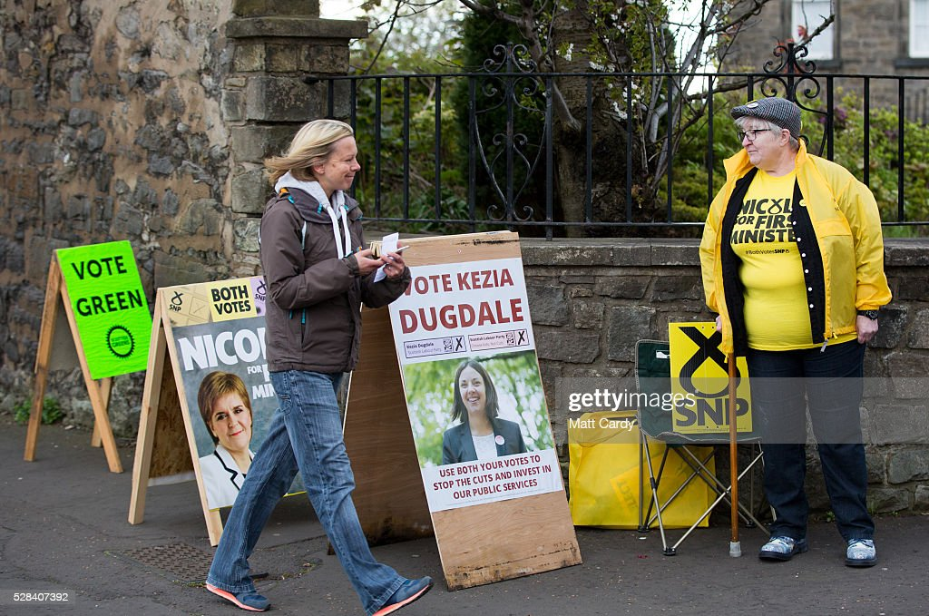 A voter arrives at St Ninian & Triduana RC Church to vote in the Scottish Parliament elections on May 5, 2016 in Edinburgh, Scotland. Today, dubbed 'Super Thursday', sees the British public vote in countrywide elections to choose members for the Scottish Parliament, the Welsh Assembly, the Northern Ireland Assembly, Local Councils, a new London Mayor and Police and Crime Commissioners. There are around 45 million registered voters in the UK and polling stations open from 7am until 10pm.