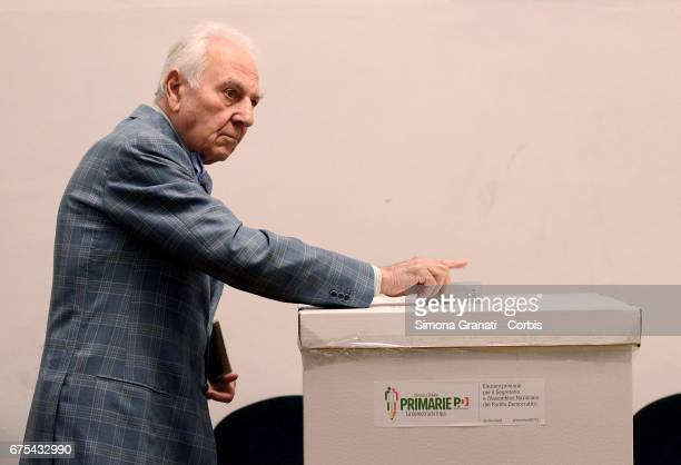 A voter casts his ballot in the primary election for a new leader of the Democratic Party on April 30 2017 in Rome Italy Former Italian Premier...