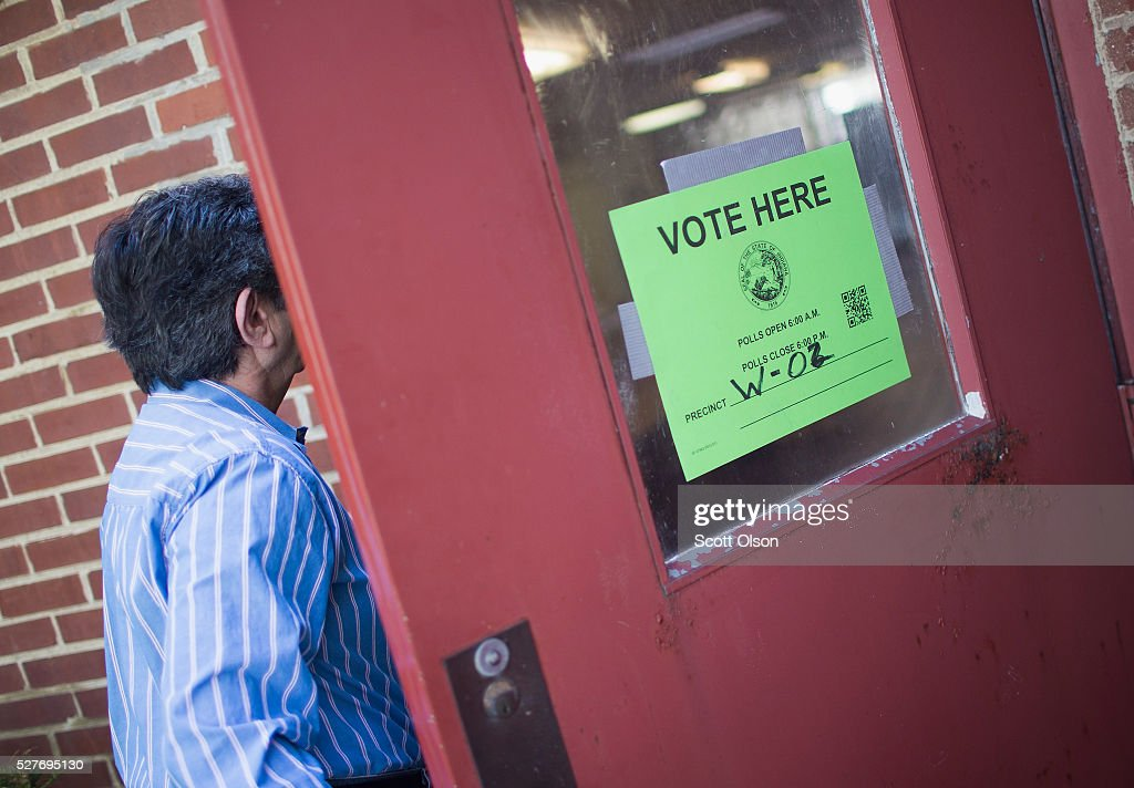 A voter enters a polling place on May 3, 2016 in Whiting, Indiana. Indiana voters are casting ballots today to decide Republican and Democrat presidential nominees.
