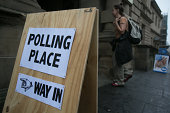 A voter enters Lothian Chambers polling station in central Edinburgh on September 18 2014 in Edinburgh Scotland After many months of campaigning the...