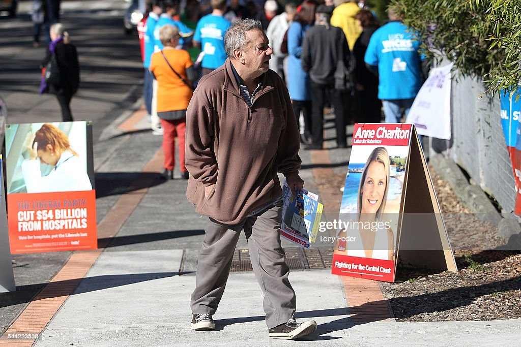 A voter in the electorate of Robertson arrives to vote at the East Gosford Public School on July 2, 2016 in Gosford, Australia. Voters head to the polls today to elect the 45th parliament of Australia.