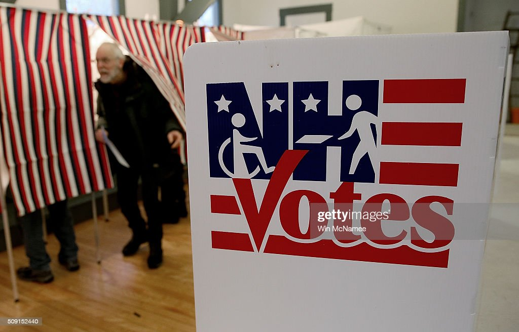 A voter leaves the a voting booth at the Canterbury Town Hall after casting his ballot February 9, 2016 in Canterbury, New Hampshire. Voters throughout the state are heading to the polls as the New Hampshire Primary, also known as the first-in-the-nation primary, continues the process of selecting the next president of the United States.