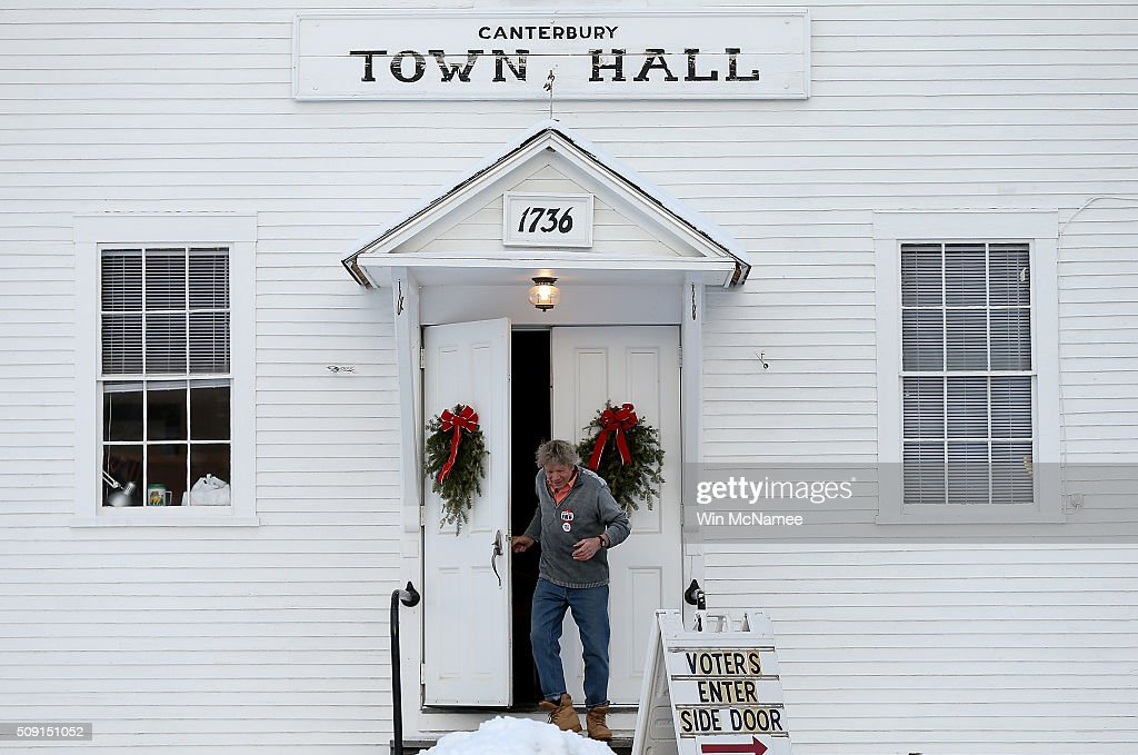 A voter leaves the Canterbury Town Hall after casting his ballot February 9, 2016 in Canterbury, New Hampshire. Voters throughout the state are heading to the polls as the New Hampshire Primary, also known as the first-in-the-nation primary, continues the process of selecting the next president of the United States.