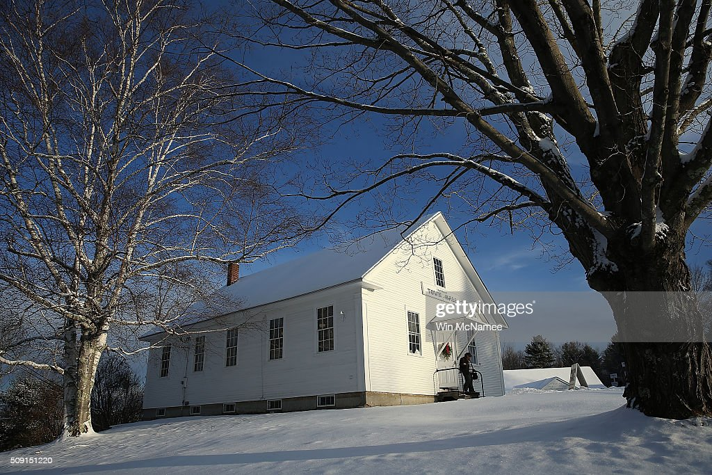 A voter leaves the Canterbury Town Hall after casting their ballot February 9, 2016 in Canterbury, New Hampshire. Voters throughout the state are heading to the polls as the New Hampshire Primary, also known as the first-in-the-nation primary, continues the process of selecting the next president of the United States.