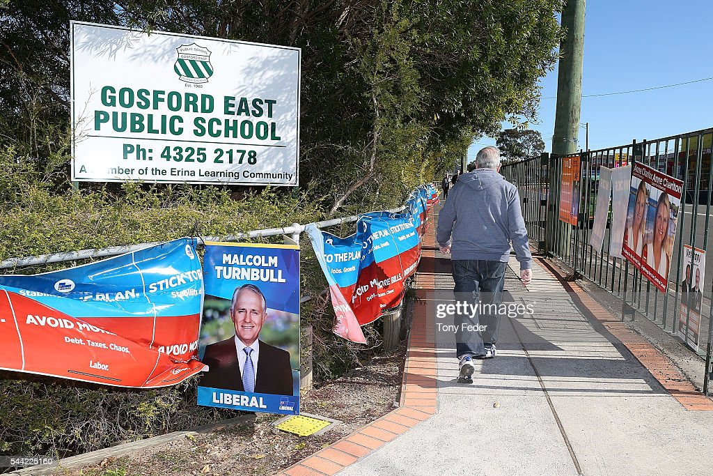 A voter leaves the East Gosford Public School in the electorate of Robertson on July 2, 2016 in Gosford, Australia. Voters head to the polls today to elect the 45th parliament of Australia.
