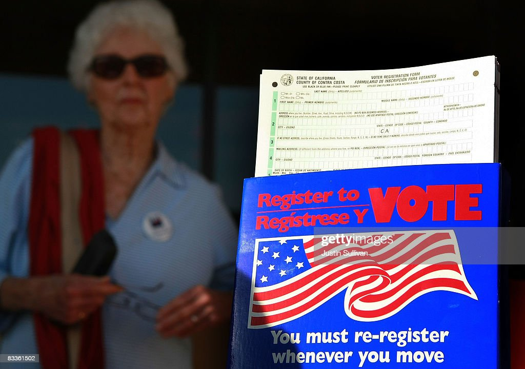 Voter registration cards are displayed on a table sponsored by the League of Women Voters of Diablo Valley October 20 2008 in Lafayette California...