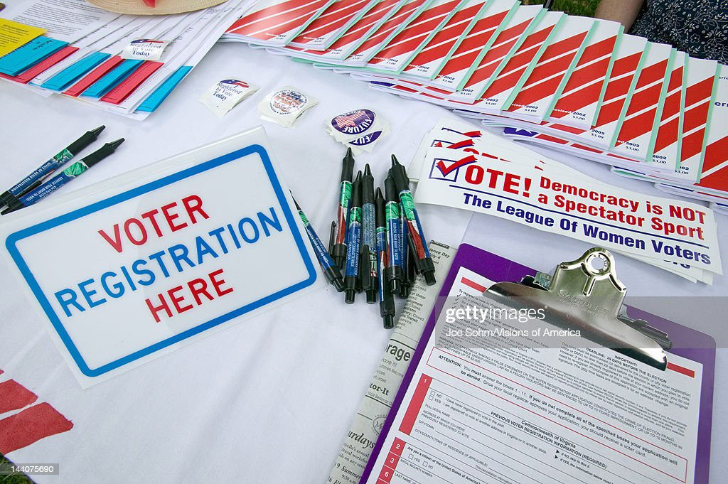 Voter registration forms promoting citizen participation at Thomas Jefferson's Monticello on July 4 2005 for new American Citizens being sworn in as...