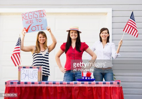 Voter registration table at residential home.