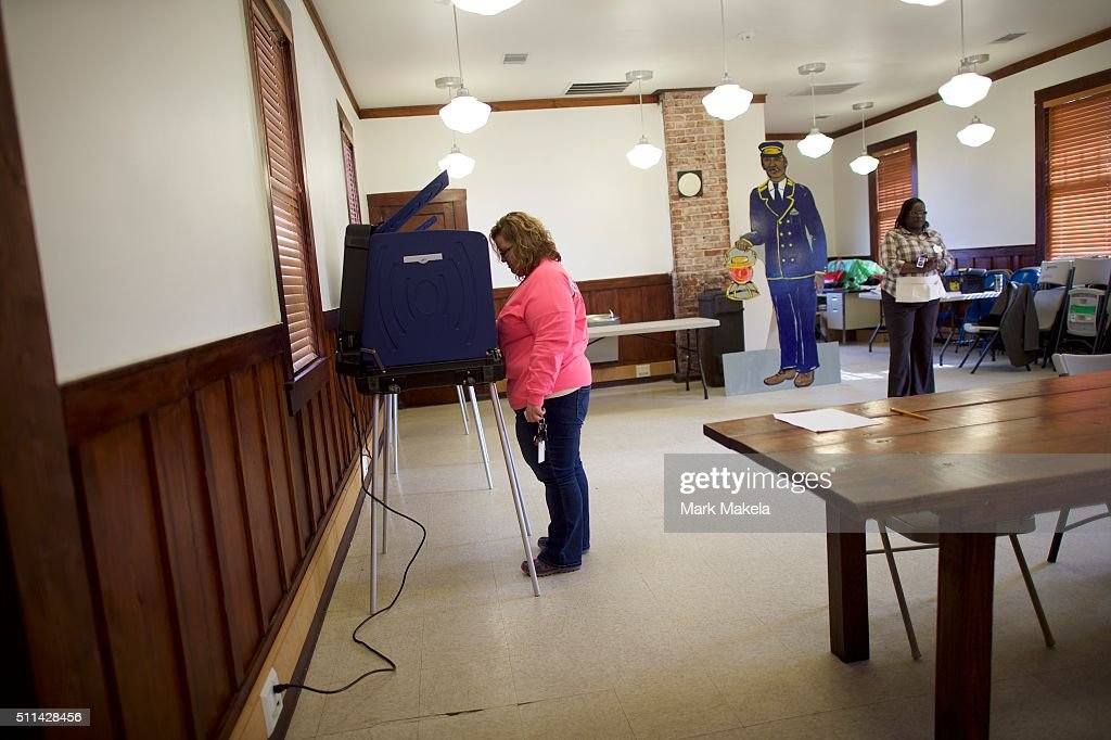 A voter stands at a booth at the Denmark Depot polling precinct on February 20, 2016 in Denmark, South Carolina. Statewide voters will cast ballots today in the South Carolina Republican Presidential Primary, the 'first in the south.'