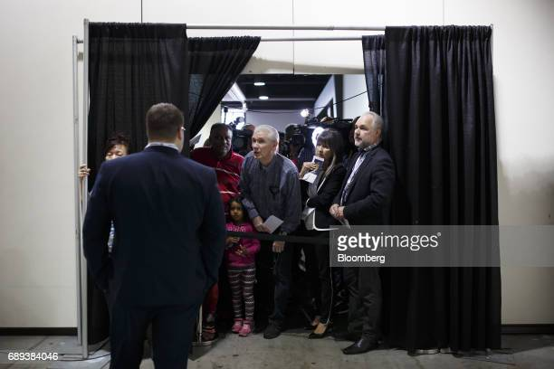Voters are locked out after a deadline as they try to cast their ballots during the Conservative Party Of Canada Leadership Conference in Toronto...