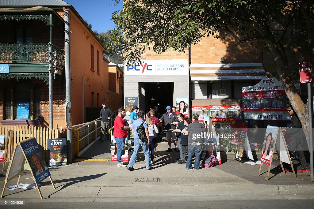 Voters arrive at the Penrith PCYC in the electorate of Lindsay on July 2, 2016 in Penrith, Australia. Voters head to the polls today to elect the 45th parliament of Australia.