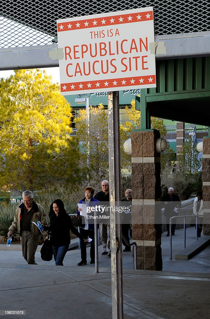 Voters arrive to caucus for the Republican presidential candidate at Palo Verde High School February 4, 2012 in Las Vegas, Nevada. Nevada is the first state in the West to vote as Republicans go about choosing their presidential candidate.