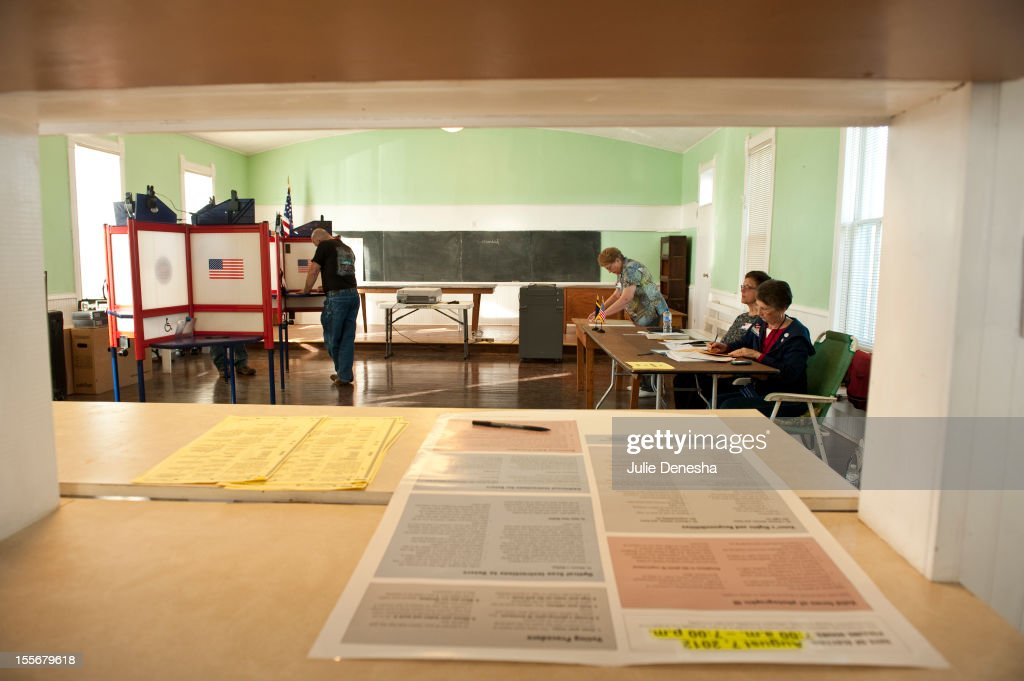 Voters cast their ballots at Briles Schoolhouse on November 5, 2012 in Wellsville, Kansas. The one-room school house was built in 1868 and closed in 1960, the school is now a community center in Franklin County, Kansas.