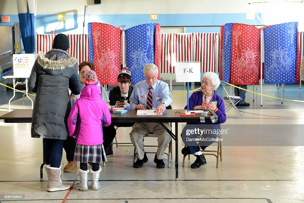 Voters cast their ballots at the Bishop Leo E. O'Neil Youth Center February 9, 2016 in Manchester, New Hampshire. New Hampshire voters finally go to the polls in the first in the nation primary state to begin the long election season.
