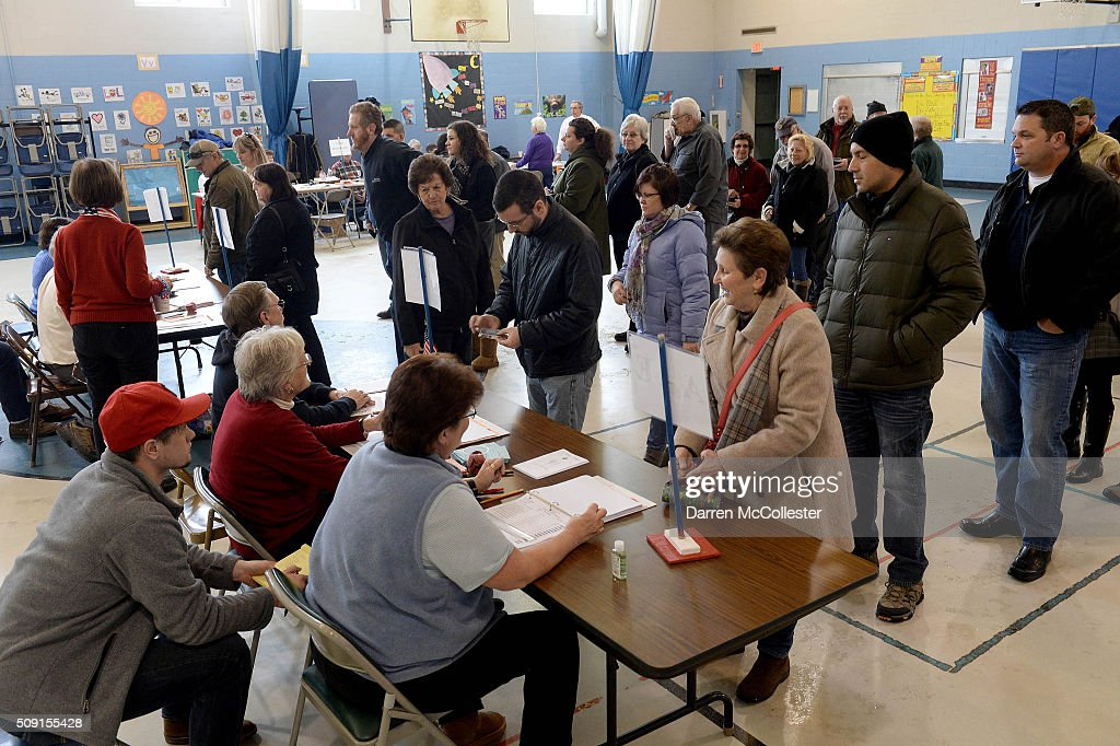 Voters cast their ballots at the Bishop Leo E. O'Neil Youth Center February 9, 2016 in Manchester, New Hampshire. Today New Hampshire voters go to the polls in the first-in-the-nation primary that begins the long election season.