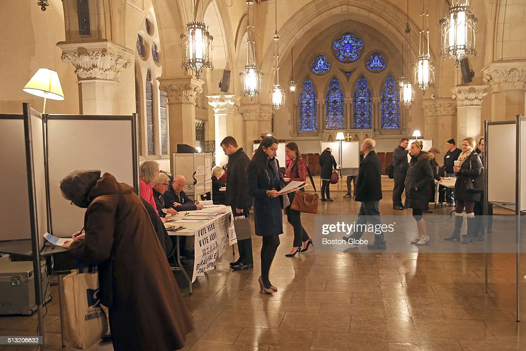 Voters cast their vote in Massachusetts primary at the chapel in Old South Church in Boston on March 1 2016
