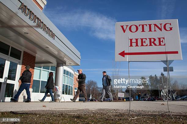 Voters enter a polling place inside Greenfield High School on March 01 2016 in Greenfield MA Officials are expecting a record turnout of voters in...
