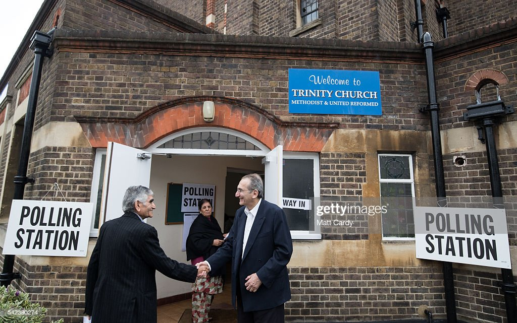 Voters enter a polling station at Trinity Church in Golders Green on June 23 2016 in London England The United Kingdom has gone to the polls to...