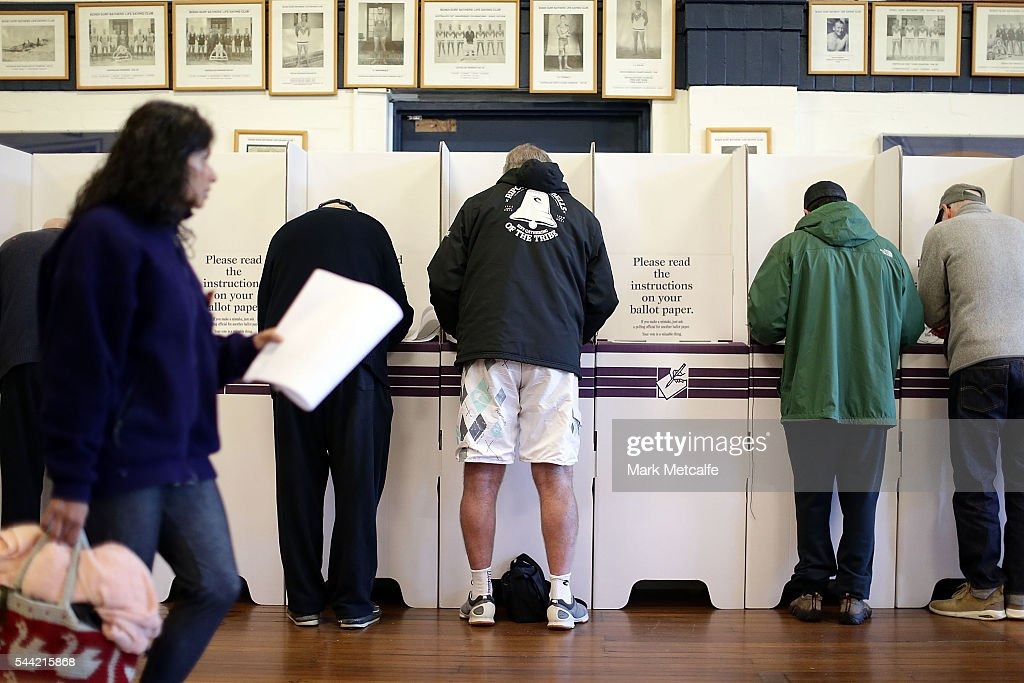 Voters go to the polls at Bondi Surf Bathers' Life Saving Club in the electorate of Wentworth on July 2, 2016 in Sydney, Australia. Voters head to the polls today to elect the 45th parliament of Australia.